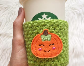 Pumpkin Cup Sleeve, Pumpkin Coffee Cozy, Pumpkin Gift