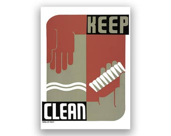 Keep Clean WPA Poster, 1930s Art Promoting Cleanless and Good Public Health, Vintage Style Print