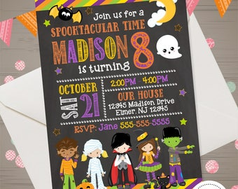 Halloween Birthday Invitation Kids Halloween Invitation Girl or Boy Halloween Invite Halloween Party Printables Costume Party Invitation,