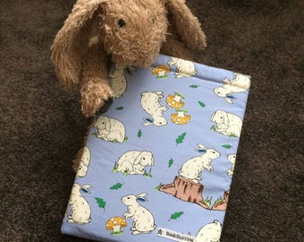 Book Cover / Book Sleeve - Snowy Bunny BookBurrow