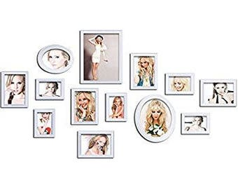 Wood Photo Collage Picture Frames Wall Collage Set of 13
