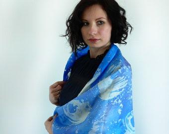 Silk Scarf, Hand painted Silk Square, Foulard en Soie, Carré de Soie, chic, luxuary, Gift For Her, Batik, summer scarf,  fashion, blue silk