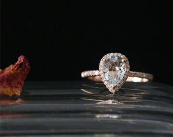 Classical Aquamarine Engagement Ring 8*6mm Pear Cut Aquamarine Ring March's Birthstone Ring 14K Rose Gold Bridal Ring Diamonds Halo Ring