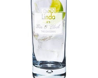 Personalised Gin O'Clock Hi Ball Bubble Glass Gifts Ideas For Him Her Men Women Dad Mum Christmas Birthday Lover Tonic and G&T