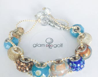 Beaded golf strokecounter bracelet or clip on golf bag made with gold, blue and crystal glass beads