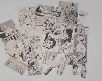 20pc Die Cut Hand Cut Children Animals Black And White 70s Annual Ephemera For Scrapbooking, Collage, Art Journaling, Crafting, Decoupage