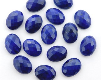 25 pieces lot natural lapis lazuli oval shape checker cut loose gemstone for jewelry