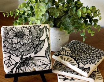 Stone Flower Coasters, Flower Coasters, Floral Coasters, Black and White Coasters,Handmade Coasters, Hand-Drawn Coasters, Flower Coasters