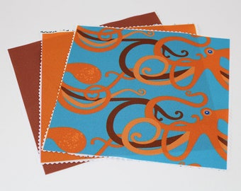Craft Fabric Pieces, 8x8 in Fabric Swatch, Sewing Fabric, Qty: 3, Polyester Fabric, Orange Fabric, Octopus Fabric, Collage Fabric, (CS107)