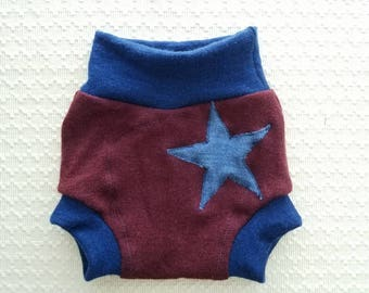 Medium (6-12 months) Wool Diaper Cover with Extra Soaker - Star Applique