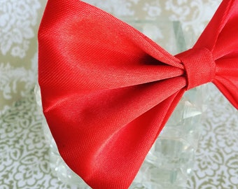 Red silky formal dog bow