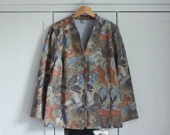 Vintage Blazer Elegant Floral Flowers Pattern Classic Smart Vintage 80s Silver Buttons Top High Fashion / Large size