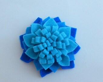 Felt dahlia flower hair clip/felt flower barrette