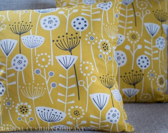 """Scandinavian floral style cushion cover. 100% Cotton 17""""x17"""" cushion cover with on trend yellow and grey geometric Scandi floral design"""