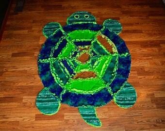 Large Handmade Turtle Quilted Rag Blanket