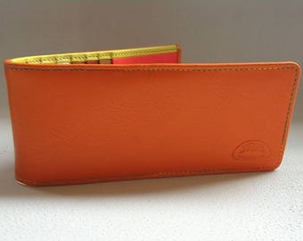 door multicolor soft calf leather credit card: storage 14 cards + 1 ticket to the back pocket