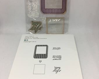 Framed Out #12 Stamp Set / Smile/ Love Life / Scrapbooking / Card Making Supplies / Simon Says Stamp / pre-owned Stamp Set / Paper Craft