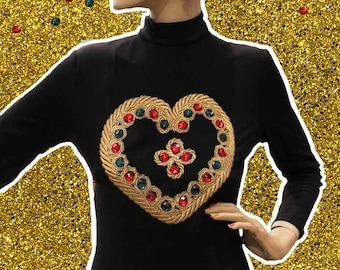 New and rare Christian Llinares body / vintage 80's with stones and embroidery / my Heart is Strong/made in France