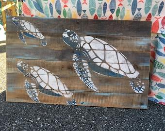 Sea Turtles Pallet Art, Pool deck art, Ocean art, Reclaimed wood, Sea turtle art, Turtle Wall Hanging, Coastal Decor