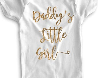 Daddy's Little Girl, Daddy's Girl, Baby Girl Clothes, Baby Girl Onesie, Gold Glitter Bodysuit, Gold Glitter Onesie, Cute Sayings, Father Day