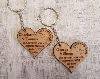 Save the date, wedding, wooden keyring, personalised invite, wedding announcement.
