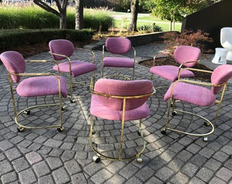 Mid Century Milo Baughman For DIA Six Brass Dining Chairs