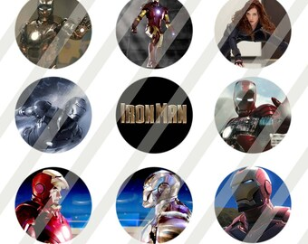 Iron Man 1 inch round for bottlecap sheet size 4x6 - Instant Download