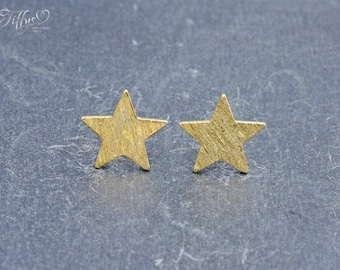 Earrings 925 sterling silver gold plated * star * star * stud earrings