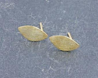Earrings 925 sterling silver gold plated * sheet * stud earrings *.