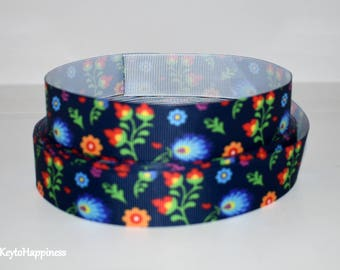 "Flowers 1"" Grosgrain Ribbon 486 By the Yard"