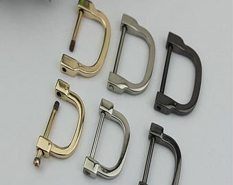 6Pcs 25/30mm inner diameter metal Dring Golden Brushed Silvery Light golden thick Screws D rings buckle purse strap Connector