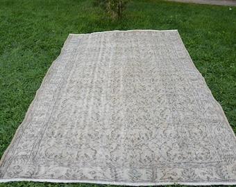 6' x 9.2' vintage turkish rug turkish handmade anatolian oushak rug faded Undyed Colors Vintage Turkish Rug Oushak Free Shipping Code 1258