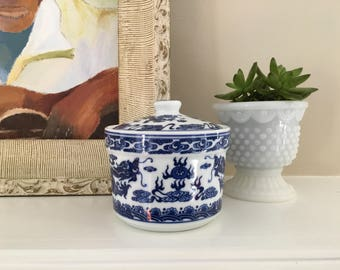 Chinoiserie Ginger Jar Trinket Jar Blue and White