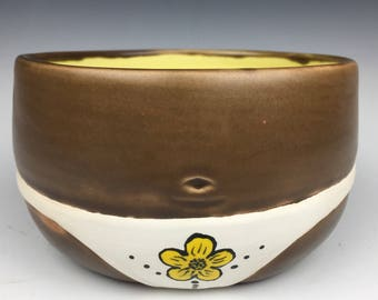White Thong Booty Bowl, Yellow Interior Glaze