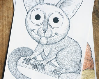 Bushbaby,cute,animal,baby,eyes,colouring page,download,colouring sheet,digital,