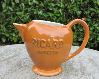A Very Nice Unused French Ricard Anisette Pastis Water Jug Named Front And Back And Stamped On The bottom.