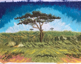 A study in acacias 2 - A4 pastel drawing on hand crafted surface