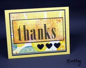 "Bright bold ""thanks"" greeting card"