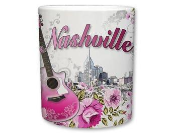 Nashville - Music City, U.S.A Coffee/Tea Mug    Floral Nashville Mug