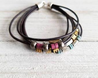 Bohemian Bracelet, Multi Strand Bracelet, Mixed Metal Bracelet, Leather Cord Bracelet, Boho Wrap Leather Bracelet, Mixed Bead Bracelet