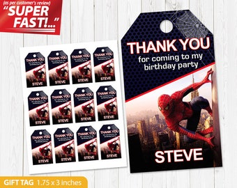 Spiderman Favor Tag PRINTABLE, Spiderman Thank You Tags, Spiderman Gift Tag, Spiderman Birthday Tags, Spiderman Label Tags, Party Tags, v1