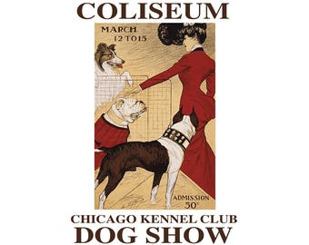 T-SHIRT: Chicago Dog Show Poster - Classic T-Shirt & Ladies Fitted Tee - (LazyCarrot)
