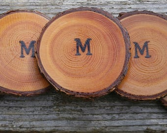 25 Sheen Single Initial Fir Wood Slice/Coasters