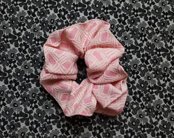 Crimplene hair scrunchie, pink hair tie, fairy kei bun wrap, pony tail holder, 70s vintage fabric scrunchies, pink and white ponytail wrap