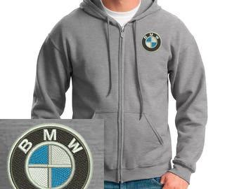 Bmw Logo Emboidered Hoodie Gray Full-Zip Hooded Sweatshirt New