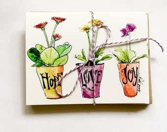 Stationary gift set: Hope Love Joy cards, original watercolor of gerbera daisies flowers; blank note card set | set of six cards/envelopes