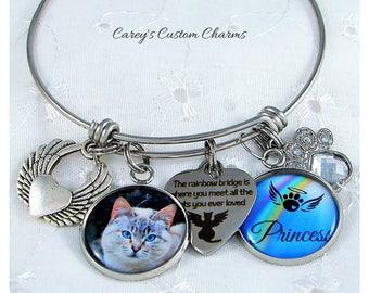 Rainbow Bridge Pet Memorial Custom Photo Charm Bracelet, Personalized Name, Pet Loss Sympathy Jewelry Gift, Rhinestone Paw, Loss Cat Kitten