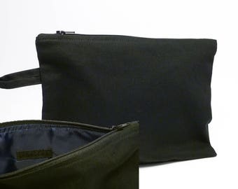 Black cotton canvas bag (feed: dark blue)