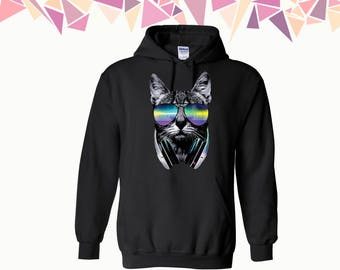 DJ Cat Hooded Sweatshirt DJ Cat Hoodie Cat Sweater Meow Hooded Sweatshirt Animal Sweater Hoodie Sweatshirt Sweater Hooded Sweatshirt