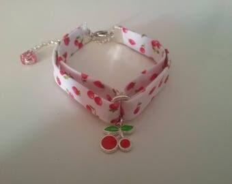 Fabric pattern cherry, cherry charm bracelet